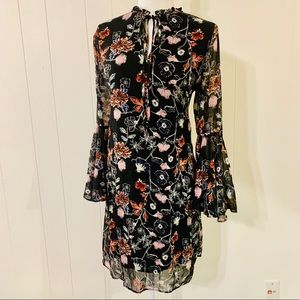 Philosophy Floral Bell Sleeve Tie Neck Dress